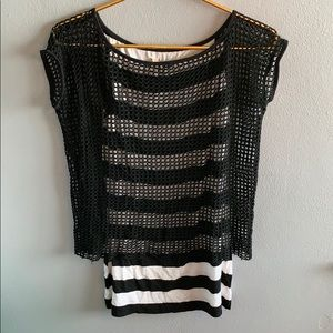 BAILEY 44 Black And White Tank with Mesh Overlay